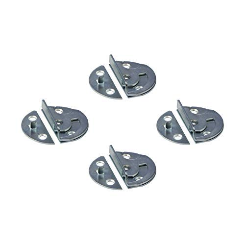 Gedotec Drehriegel-Verschluss Tischbeschlag für Zargentische | Möbelriegel Metall verzinkt | Dreh-Verriegelung zum Einbohren oder Anschrauben | 4 Stück - Tischplatten-Beschlag Verbinder aus Stahl