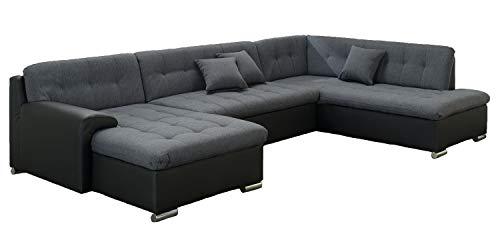 ARBD Wohnlandschaft, Couchgarnitur U-Form, Rocky mit Schlaffunktion 325 x205cm schwarz/grau, Ottomane rechts