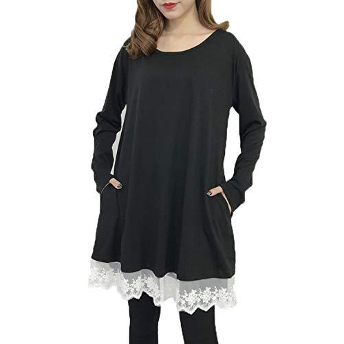 Vestido Suelto De Manga Larga con Bolsillo Y Cuello Redondo De Color SóLido para Mujer De Talla Grande