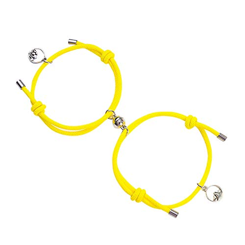 2Pcs Matching Couple Bracelets Customised His and Hers Long Distance Touch Magnetic Personalised Adjustable Magnetic Suction Romantic Valentine's Day Present(One Size,Yellow)