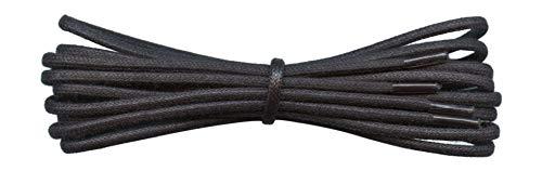 Fabmania 2 mm redondo negro encerado algodón cordones-90 cm de longitud-cordones finos para zapatos de vestir y botas.