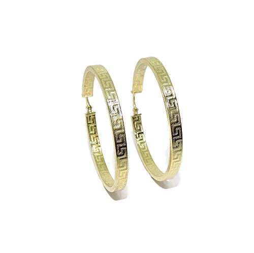 18k Yellow Gold Hoop Earrings with Greyhoop, 4mm Square Tube and 4.40cm Outer Diameter Easy Click Closure. Weight; 4.95 g of 1a gold