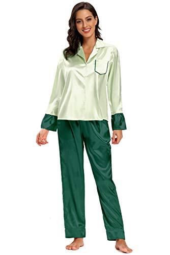 SHEKINI Schlafanzug Satin Damen, Kontrastfarbe Knöpfen Pyjama mit Hose mit Gummibund Nachthemd Nachtwäsche Sleepwear 2 Teiliges Klassisch Pyjama Set Zweiteiliger Schlafanzug lang(Grün,L)