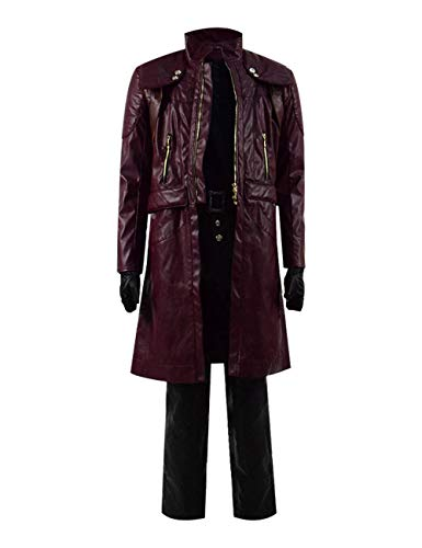 DMC 5 Halloween Cosplay Costume Leather Outfits Devil May Cry Dante Jacket Pants Set (XL, Dark Red)