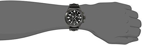 """Invicta Men's 0353 """"Specialty Collection"""" Stainless Steel Watch with Black Faux Leather Band"""