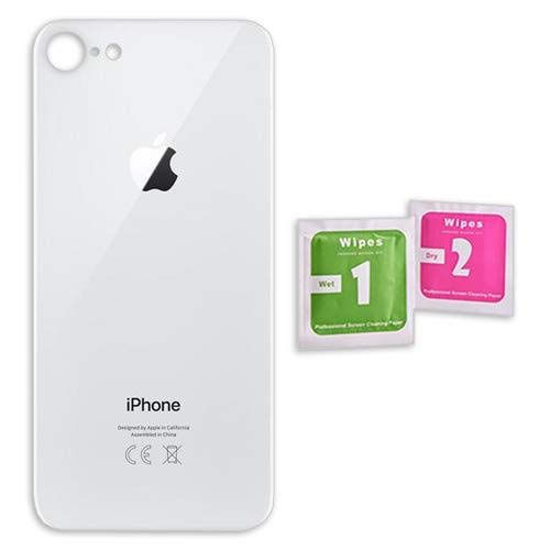 Infigo Backcover Glas Silber geeignet für iPhone 8, Gehäuse housing Rahmen Rückseite inkl. Reinigungstuch und Klebepad (iPhone 8, Glas, Silber)