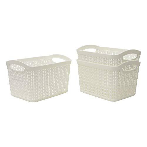 JVL Knit Design Loop Plastic Set of 3 Storage Box 1.5L, Ivory 11 x 17 x 13, One size