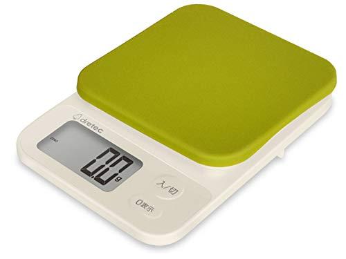 【0.1g単位/新モデル】dretec(ドリテック) キッチンスケール デジタル シリコンカバー付き 起動時間が速くてすぐにはかれる 2kg/0.1g単位 風袋引き 大画面 グリーン