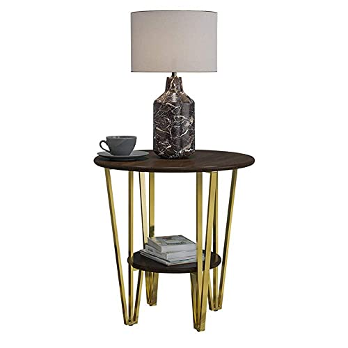 N\C Table 2 Tier Round Side Table, Nightstand Coffee End Table for Living Room, Bedroom, Small Spaces, Easy Assembly Decro Bedside Table with Metal Legs, 23.6'(Dia) x23.1(H) for Living Room Bedroom