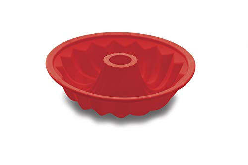 Forma Pudim Furo Silicone, Haüskraft, SLCN-004VM, Vermelho, 25.5 cm