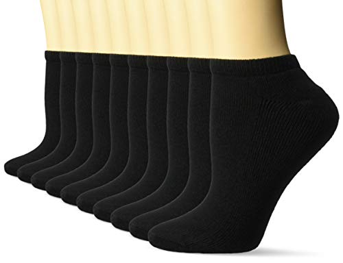 Amazon Essentials Women's 10-Pack Cotton Lightly Cushioned No-Show Socks, Black, Shoe Size: 8-12