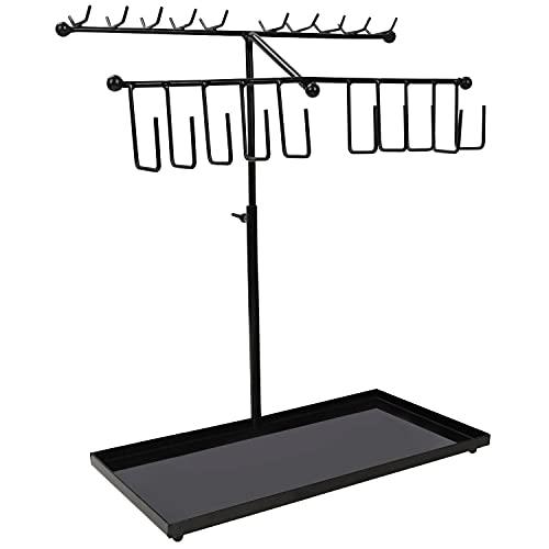 Belle Vous Presentoir Bijoux en Métal Noir à 2 Niveaux avec Plateau (30 Crochets) - Arbre a Bijoux Réglable - Porte Collier, Bracelets, Bagues, Montres et Boucles d'Oreilles