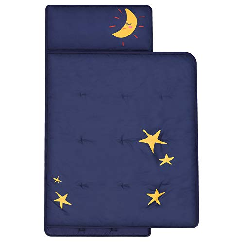 TILLYOU Luxury Padded Toddler Kid Nap Mat with Removable Pillow and Thick Comforter Blanket, Daycare Preschool Approved Silky Soft Warm Portable Sleeping Bag, 2-4 Years, Navy Moon and Star