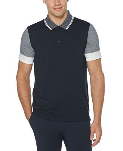 Perry Ellis Men's Color Block Short Sleeve Polo Shirt, Dark Sapphire, Large