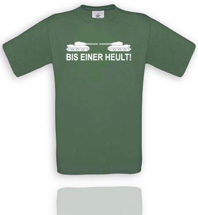 BIS EINER HEULT!. UNISEX T-Shirt Größe S - Olive/Weiss
