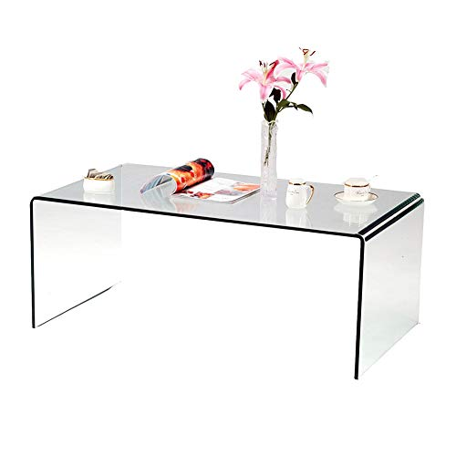 SMARTIK 1/2 Inch Thicken Tempered Glass Coffee Tables, Modern Decor Clear Coffee Table for Living Room, Easy to Clean and Safe Rounded Edges