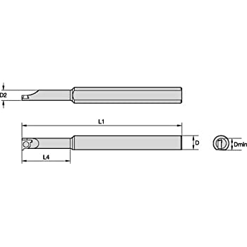Right 4 Length Steel 0.625 Shank Diameter WIDIA WIDIA Circle QSII375625187560R QSII Small Hole Boring Bar for Grooving and Threading 30/° Angle