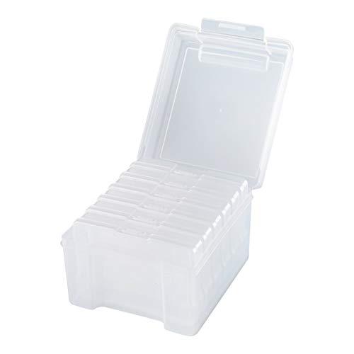 Foto-Aufbewahrungsbox, Fotobox Fotoschachtel mit 6 Kassetten für je 100 Bilder, Ordnung, 13,5 x 22 x 18,5 cm, transparent