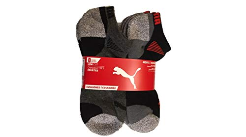 Puma Mens No show Sport Socks Moisture Control Arch Support 8 Pair