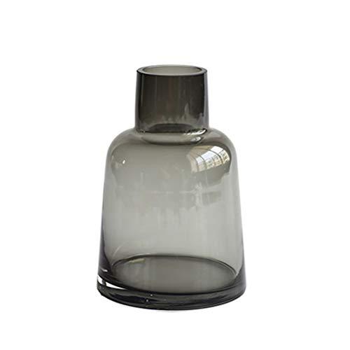 Vosarea Glas Blumen Vase Schreibtisch Glas Blumentopf für Zuhause Büro (Grau)