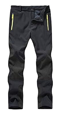 Rdruko Women's Waterproof Snow Pants Ski Snowboard Hiking Softshell Fleece Insulated Winter Pants(Black, US L)