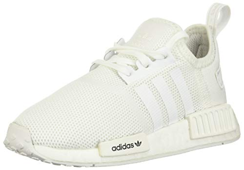 adidas Originals Kids' NMD_R1 Elastic Sneaker, White/White/Crystal White, 8.5K