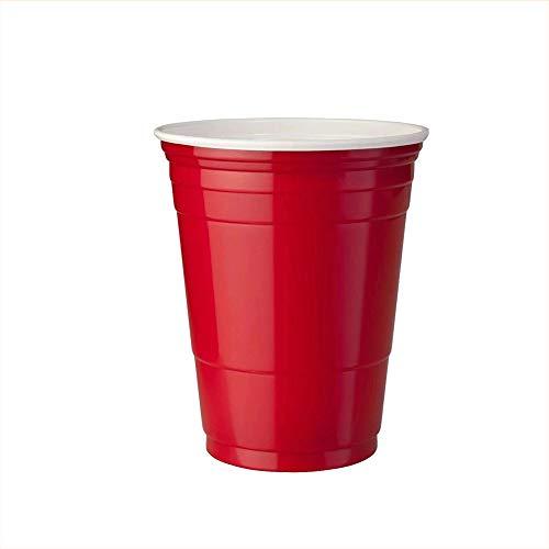 JUNSHUO Vasos de plástico Desechables Rojos, Set de Beer Pong Americano, 50...