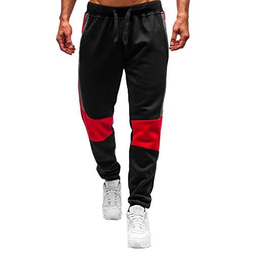 MOTOCO Herren Lässige Slim Fit Elastischer Kordelzug Lange Trackpants Jogger Hose Jogginghose Trainingshose mit Reißverschlusstaschen Wilde Casual Lose Hose(L,Schwarz-3)