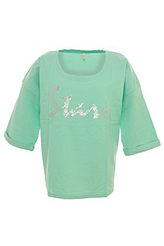 Sheego Sweatshirt Damen Pailletten, Farbe:mintgrün;Damengrößen:44