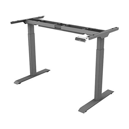SANODESK Basic Line - elektrisch stufenlos höhenverstellbarer Schreibtisch mit Kollisionschutz, Memory-Steuerung und Softstart/Stop Funktion (Grau)
