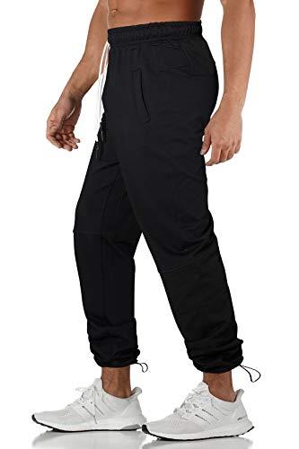 AIDEAONE Trainingshose Elasticated Cuff Jogginghose Herren Classic-fit Sporthose mit Kordelzug Stil Schwarz