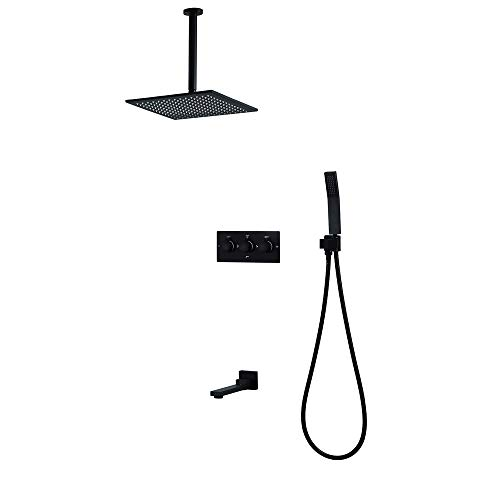 Best Prices! XIAOF-FEN Shower Set Faucets,Black Wall Mounted Rainfall Bathroom Concealed Mixer Taps ...