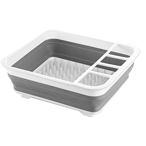 Escurridor de platos plegable extensible con divisor de cubiertos | Estante de secado de silicona plegable y portátil, perfecto para el hogar, la cocina y el camping