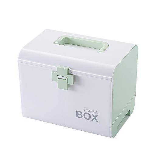 Etravel 救急箱 薬箱 おしゃれ 収納 大容量 引き出し 手提げ 薬ボックス 薬入れ 十字ロック 収納ボックス 救急ボックス 整理 医療箱 応急処置 家庭用 車載用 緑
