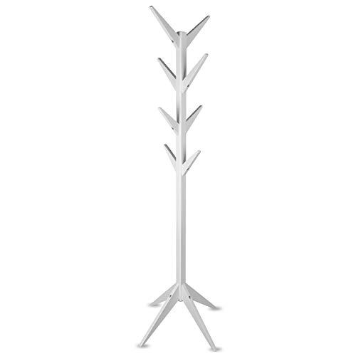 Staboos Massiver Garderobenständer Holz - Buchenholz Baum Garderobe mit Werkzeug - Jackenständer als Äste Garderobe - Standgarderobe (Weiß)