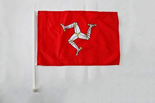 AZ FLAG Bandera de Coche de la Isla DE Man 45x30cm - BANDERINA para Auto MANÉS 30 x 45 cm