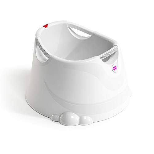 OKBABY Swell Toddler Tub - Upright & Compact - Features Ergonomic Built-in Support- Comfort Grip Handles for Carrying - Hygienic & Easy to Clean - for Small Bathrooms, Indoors & Outdoors, White