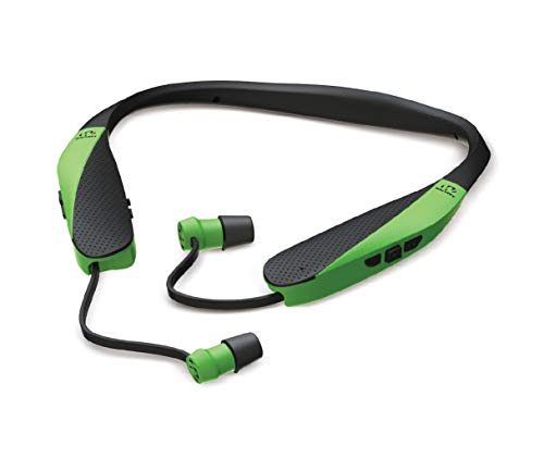 Walker's Saftey Razor Bluetooth Behind The Neck Hearing Protection Ear Buds with Sound Amplification & Compression, Hi-Viz Green