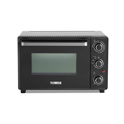 Tower T14043 Mini Oven with Adjustable Temperature Control, 90 Minute Timer, Baking Tray and Wire Rack, Black with Silver Accents, 23 Litre