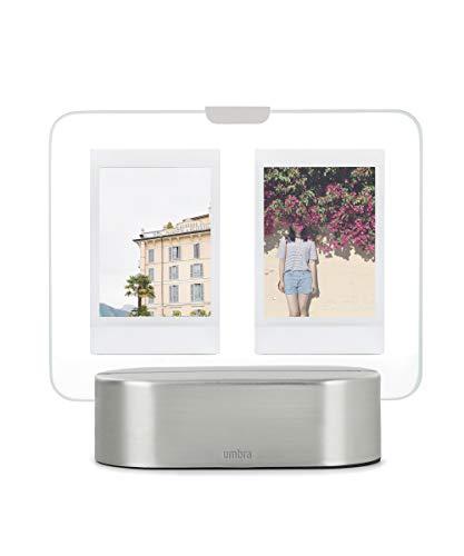 Umbra Glo Instant Bilderrahmen mit LED Beleuchtung, beleuchteter Glasrahmen für Zwei 5 x 7,5 cm Polaroid Bilder, Metall, Nickel, 5x7,5