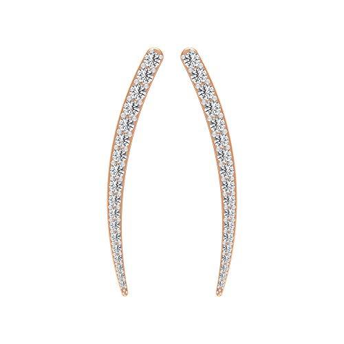 Pendientes curvos antiguos de escalador, HI-SI 1/2 CT Diamante Cluster Pendientes, Apilables Pendientes de Boda, Pendientes de Crawler, Puños de Oro 14K Oro rosa, Par
