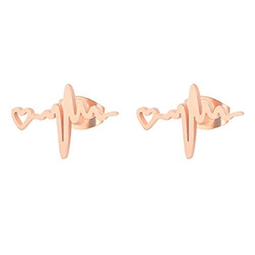 yichahu Pendientes de oro rosa de acero inoxidable con forma de corazón ondulado, joyería de corazón ECG para médicos y enfermeras