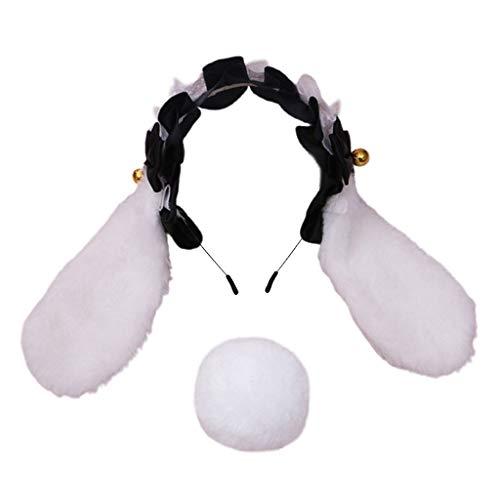Qiman Diadema con orejas de conejo, con volantes, encaje mullido, lazo, diadema, diadema, disfraz de cosplay, accesorio de fiesta