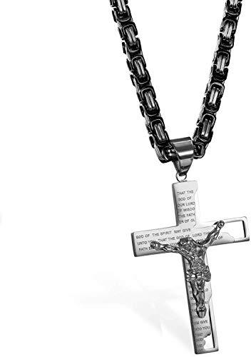 LAYX Collar Colgante for Hombre de Acero Inoxidable de la Cruz de Cristo, de Plata del crucifijo de Jesús Biblia señores Prayer 25.6' Collar de Cadena