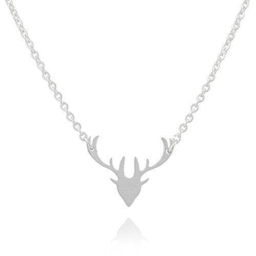 Selia Geweih Kette Hirsch Halskette Bambi minimalistische Optik Edelstahl brushed gebürstete Optik handgemacht (Silber)