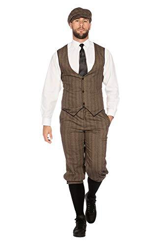 shoperama 20er Jahre Peaky Blinders Anzug Knickerbocker Herren-Kostüm Braun-Beige Weste Schiebermütze The Roaring Twenties 20's, Größe:54