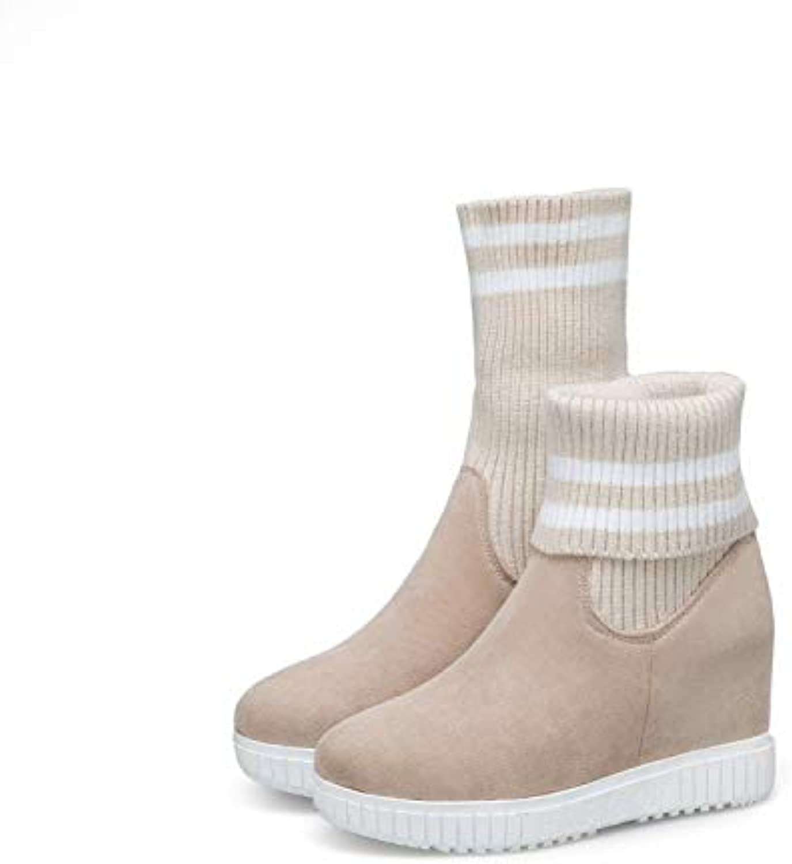 HRCxue Pumps Gestrickte Stiefel Martin Stiefel in den Stiefeln farblich passender elastischer Dicker Bodenkeil mit erhöhtem rundem Kopf mit hohem Absatz, beige, 39  | Am wirtschaftlichsten