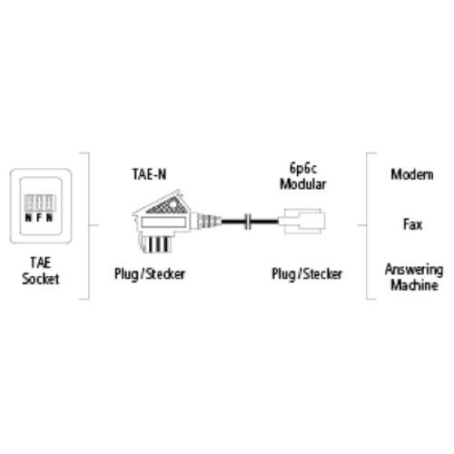Hama Anschlusskabel, TAE-N-Stecker - Modular-Stecker 6p6c, 10 m