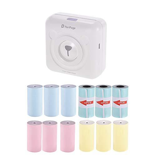 Aibecy PeriPage Mini Pocket sans fil BT Imprimante thermique Étiquette d'image Memo Receveur Papier Imprimante + 9 rouleaux de papier thermique + 3 rouleaux de papier adhésif 57 x 30 mm