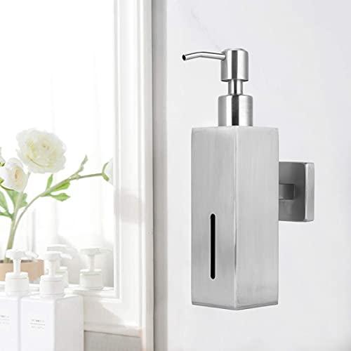 Uxsiya Dispensador de jabón montado en la Pared Suministros de baño para la Cocina del Cuarto de baño(9532N Brushed Square Soap Dispenser)